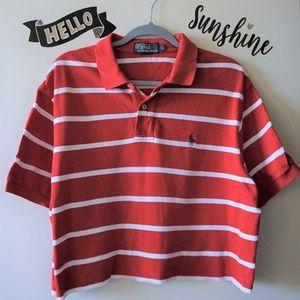 RL Red White Stripes Crop Top Polo Shirt Men's L